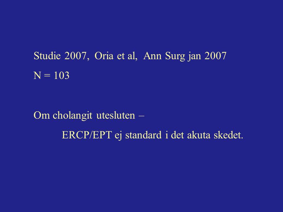 Studie 2007, Oria et al, Ann Surg jan 2007 N = 103 Om cholangit utesluten – ERCP/EPT ej standard i det akuta skedet.