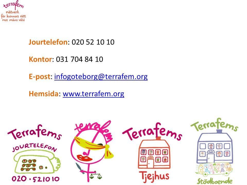 Jourtelefon: 020 52 10 10 Kontor: 031 704 84 10 E-post: infogoteborg@terrafem.orginfogoteborg@terrafem.org Hemsida: www.terrafem.orgwww.terrafem.org