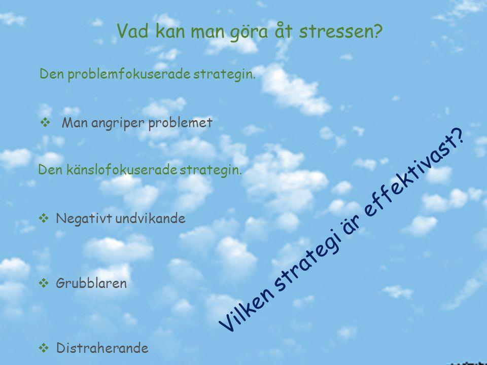 Vad kan man göra åt stressen. Den problemfokuserade strategin.