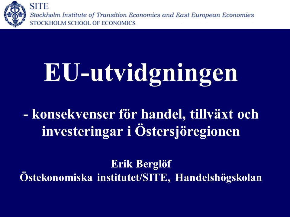 EU-utvidgningen - konsekvenser för handel, tillväxt och investeringar i Östersjöregionen Erik Berglöf Östekonomiska institutet/SITE, Handelshögskolan