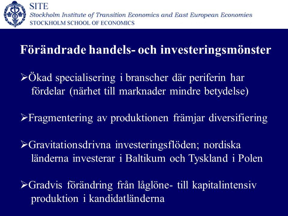 Förändrade handels- och investeringsmönster  Ökad specialisering i branscher där periferin har fördelar (närhet till marknader mindre betydelse)  Fragmentering av produktionen främjar diversifiering  Gravitationsdrivna investeringsflöden; nordiska länderna investerar i Baltikum och Tyskland i Polen  Gradvis förändring från låglöne- till kapitalintensiv produktion i kandidatländerna