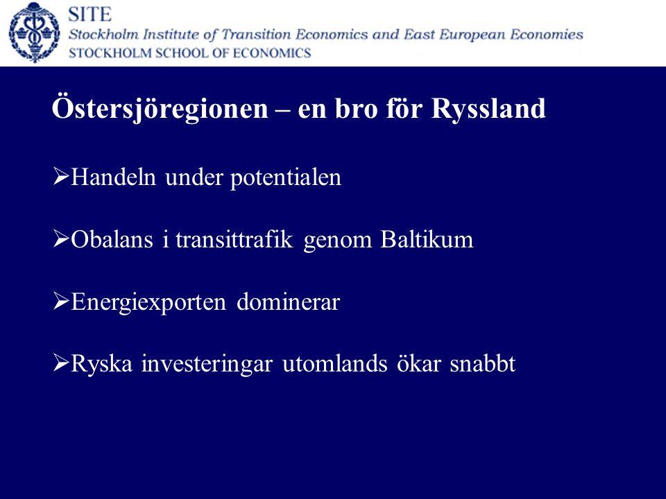 Östersjöregionen – en bro för Ryssland  Handeln under potentialen  Obalans i transittrafik genom Baltikum  Energiexporten dominerar  Ryska investeringar utomlands ökar snabbt