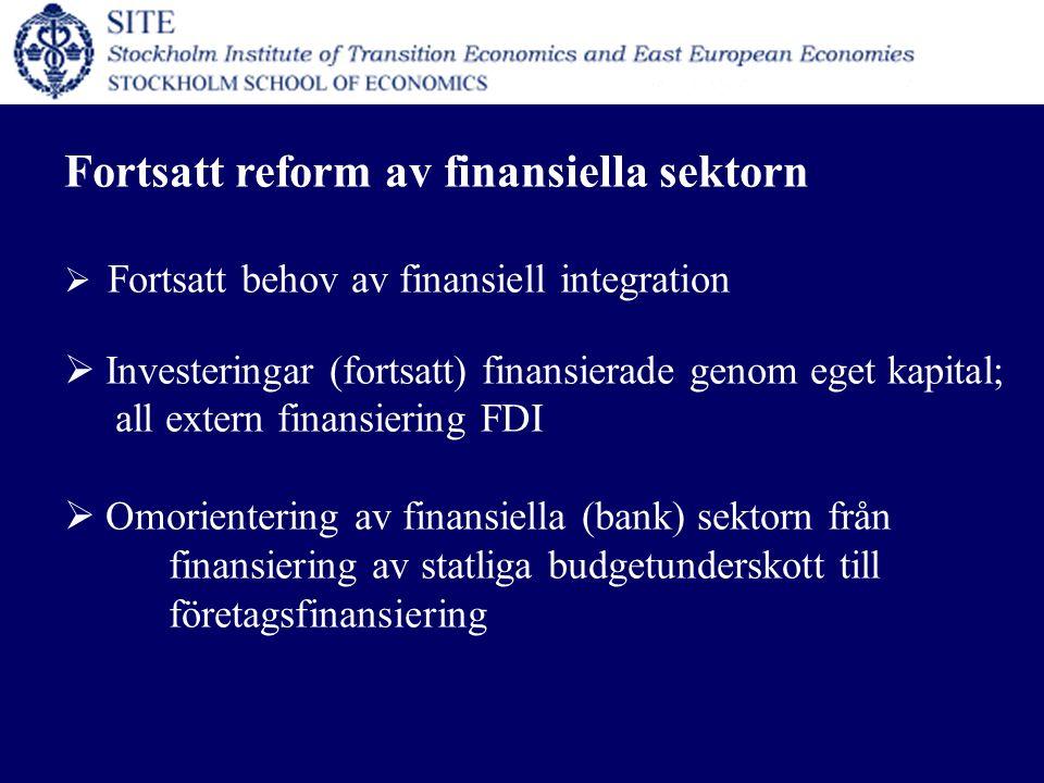 Fortsatt reform av finansiella sektorn  Fortsatt behov av finansiell integration  Investeringar (fortsatt) finansierade genom eget kapital; all extern finansiering FDI  Omorientering av finansiella (bank) sektorn från finansiering av statliga budgetunderskott till företagsfinansiering