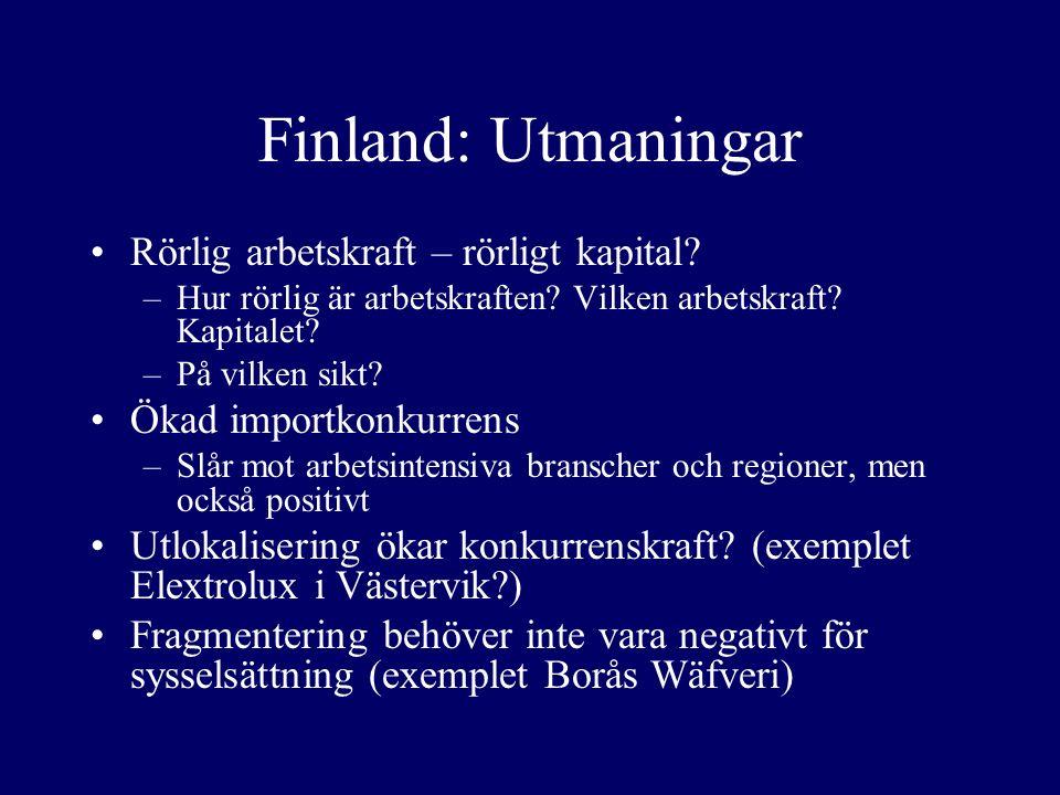 Finland: Utmaningar Rörlig arbetskraft – rörligt kapital.