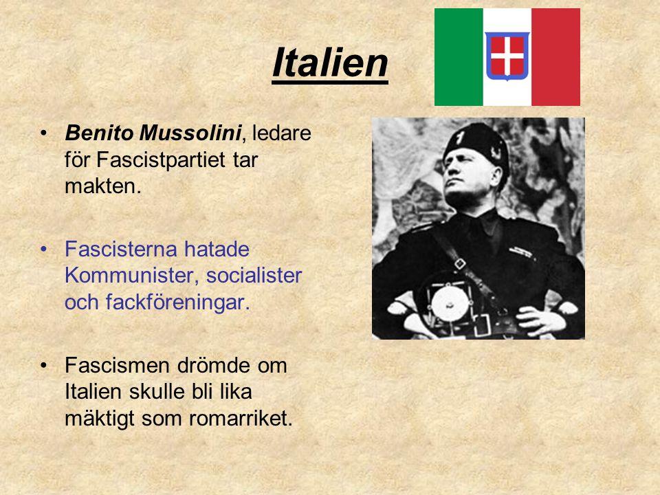 Italien Benito Mussolini, ledare för Fascistpartiet tar makten.