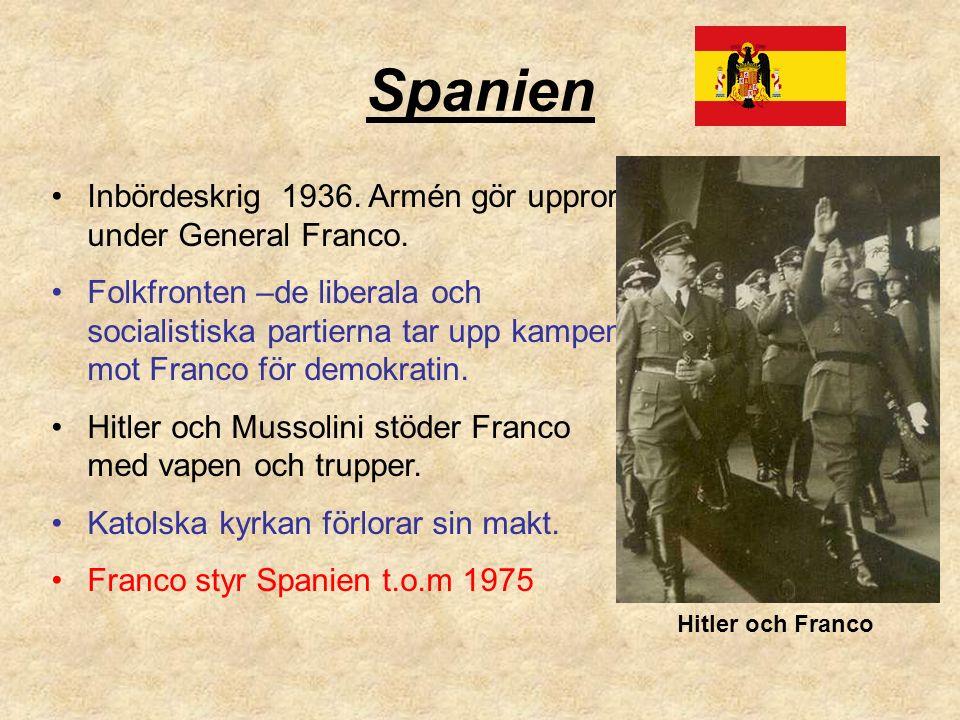 Spanien Inbördeskrig 1936. Armén gör uppror under General Franco.