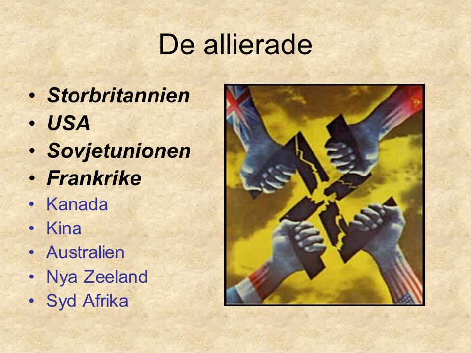 De allierade Storbritannien USA Sovjetunionen Frankrike Kanada Kina Australien Nya Zeeland Syd Afrika