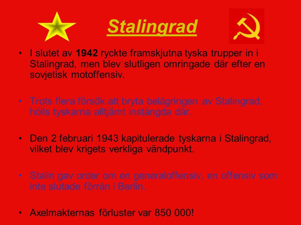 I slutet av 1942 ryckte framskjutna tyska trupper in i Stalingrad, men blev slutligen omringade där efter en sovjetisk motoffensiv.