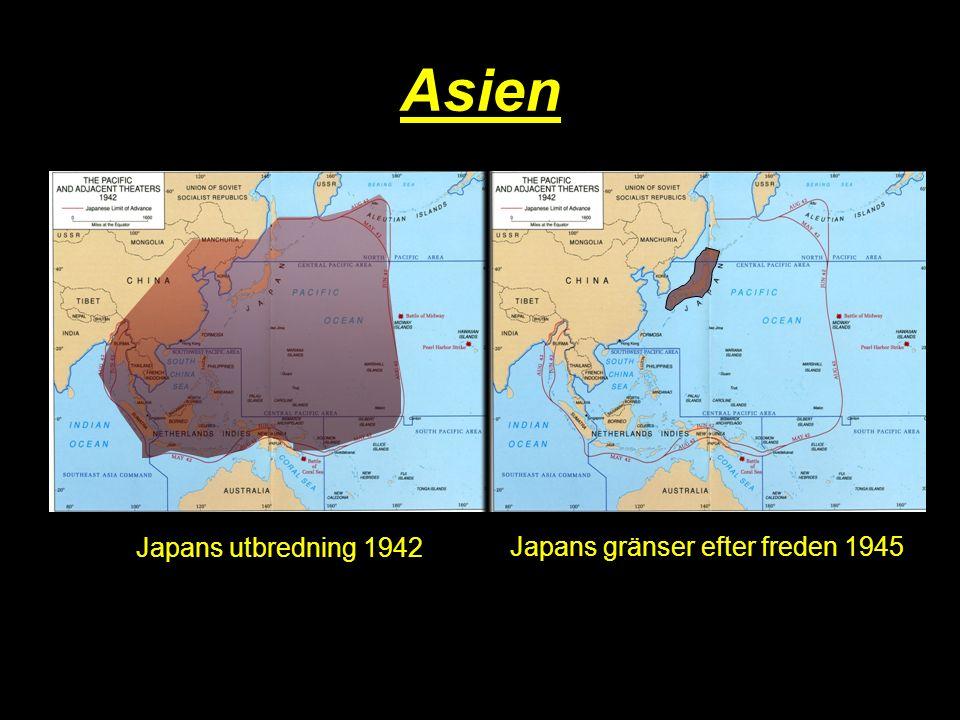 Asien Japans utbredning 1942 Japans gränser efter freden 1945