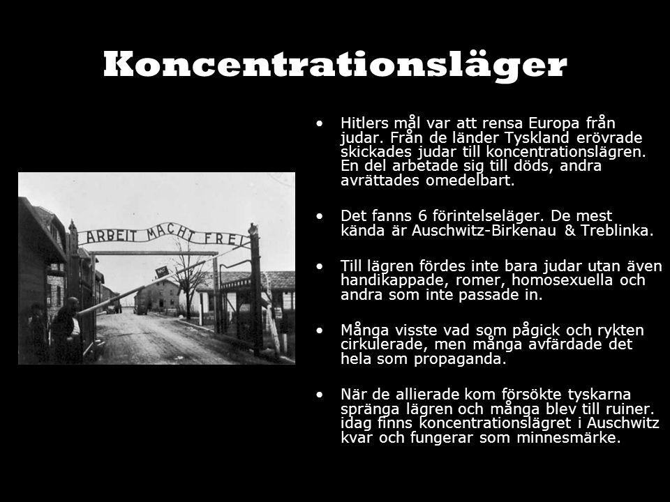 Koncentrationsläger Hitlers mål var att rensa Europa från judar. Från de länder Tyskland erövrade skickades judar till koncentrationslägren. En del ar