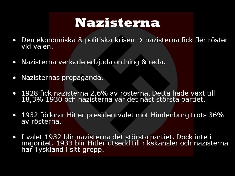 Nazisterna Den ekonomiska & politiska krisen  nazisterna fick fler röster vid valen. Nazisterna verkade erbjuda ordning & reda. Nazisternas propagand