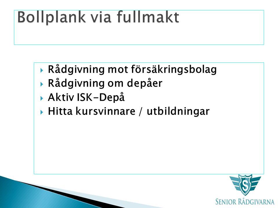  Rådgivning mot försäkringsbolag  Rådgivning om depåer  Aktiv ISK-Depå  Hitta kursvinnare / utbildningar