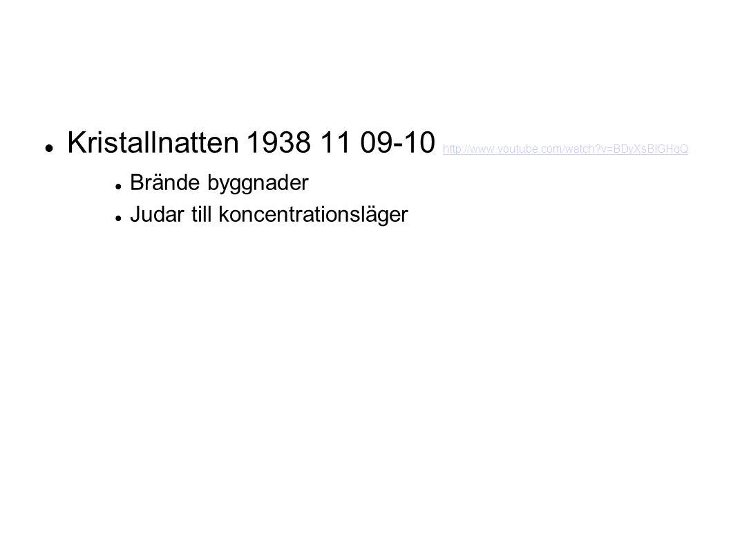 Kristallnatten 1938 11 09-10 http://www.youtube.com/watch v=BDyXsBIGHqQ http://www.youtube.com/watch v=BDyXsBIGHqQ Brände byggnader Judar till koncentrationsläger