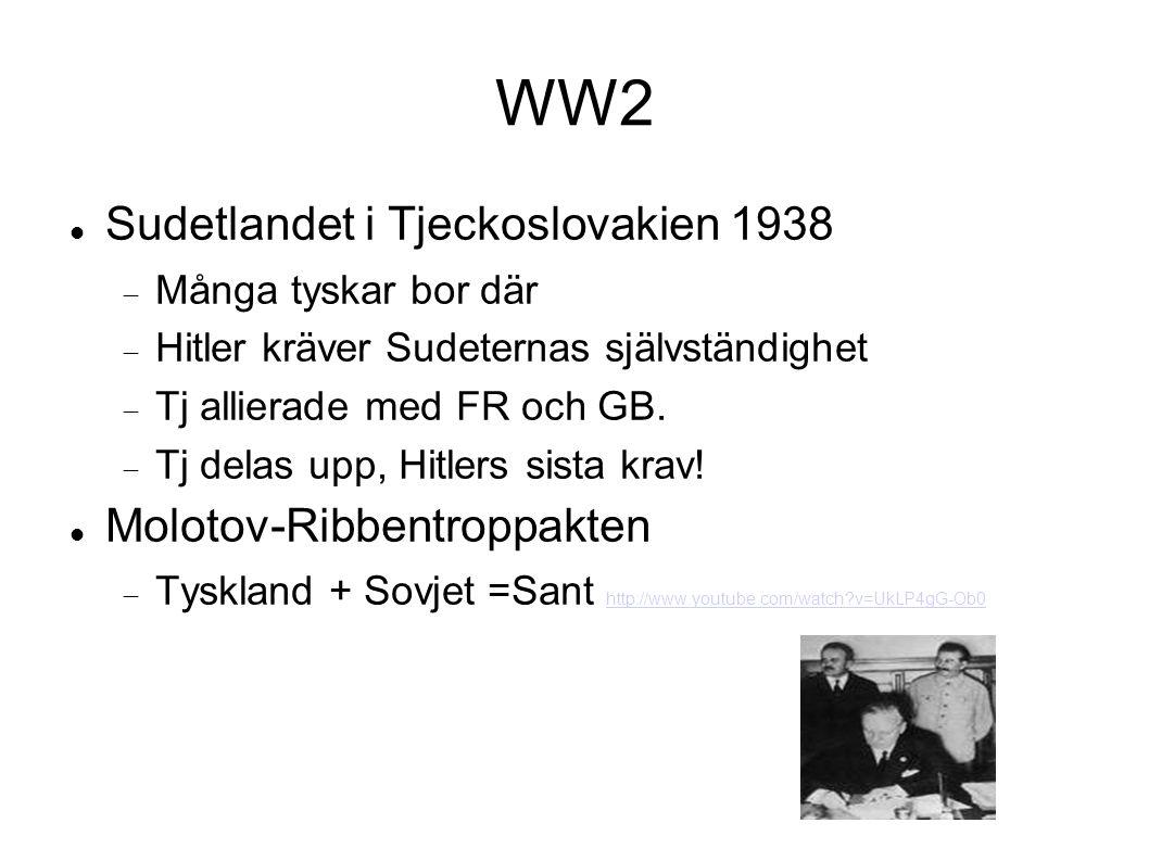 WW2 Sudetlandet i Tjeckoslovakien 1938  Många tyskar bor där  Hitler kräver Sudeternas självständighet  Tj allierade med FR och GB.