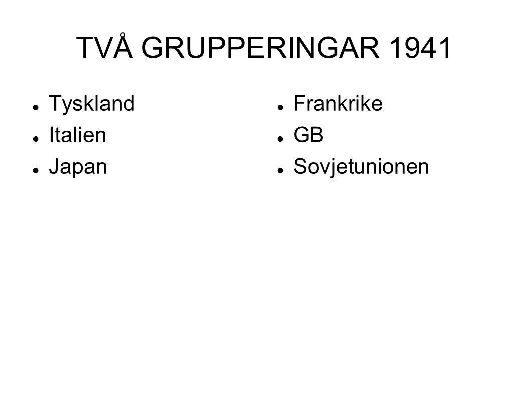 TVÅ GRUPPERINGAR 1941 Tyskland Italien Japan Frankrike GB Sovjetunionen