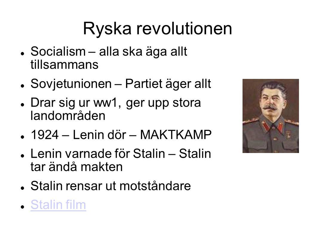 Ryska revolutionen Socialism – alla ska äga allt tillsammans Sovjetunionen – Partiet äger allt Drar sig ur ww1, ger upp stora landområden 1924 – Lenin dör – MAKTKAMP Lenin varnade för Stalin – Stalin tar ändå makten Stalin rensar ut motståndare Stalin film