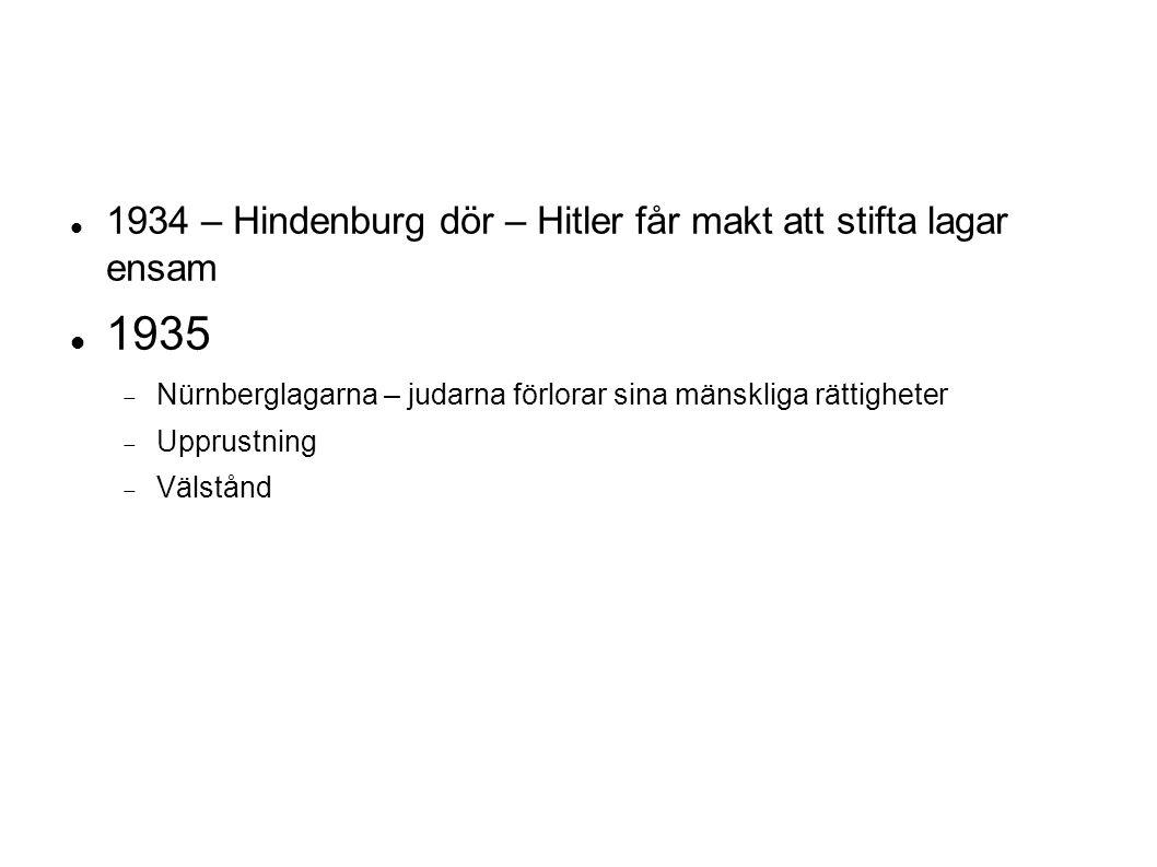 1934 – Hindenburg dör – Hitler får makt att stifta lagar ensam 1935  Nürnberglagarna – judarna förlorar sina mänskliga rättigheter  Upprustning  Välstånd