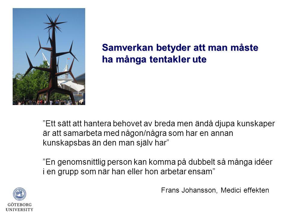 Ett sätt att hantera behovet av breda men ändå djupa kunskaper är att samarbeta med någon/några som har en annan kunskapsbas än den man själv har En genomsnittlig person kan komma på dubbelt så många idéer i en grupp som när han eller hon arbetar ensam Frans Johansson, Medici effekten Samverkan betyder att man måste ha många tentakler ute