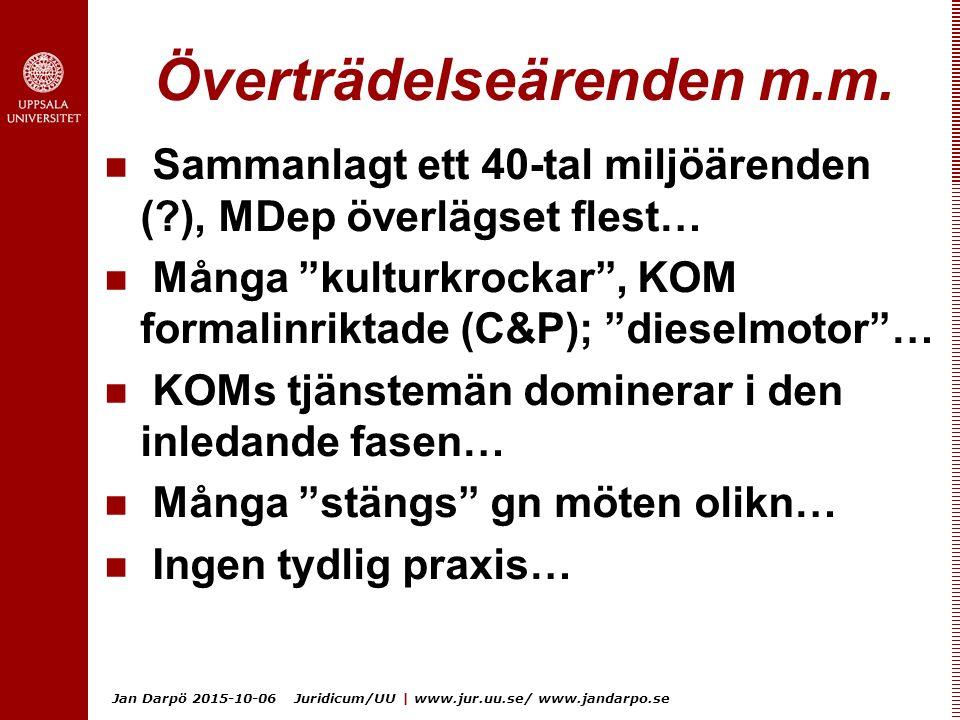Jan Darpö 2015-10-06 Juridicum/UU | www.jur.uu.se/ www.jandarpo.se Överträdelseärenden m.m. Sammanlagt ett 40-tal miljöärenden (?), MDep överlägset fl