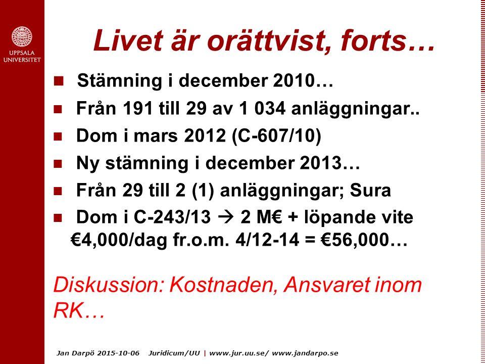 Jan Darpö 2015-10-06 Juridicum/UU | www.jur.uu.se/ www.jandarpo.se Livet är orättvist, forts… Stämning i december 2010… Från 191 till 29 av 1 034 anläggningar..