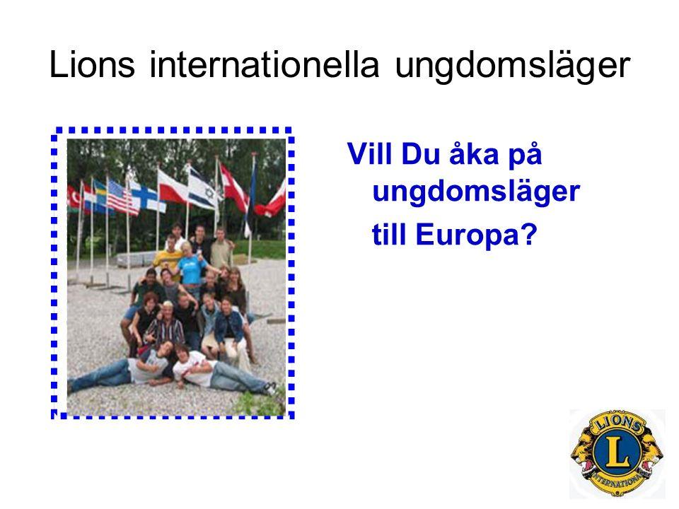 Lions internationella ungdomsläger Vill Du åka på ungdomsläger till Europa