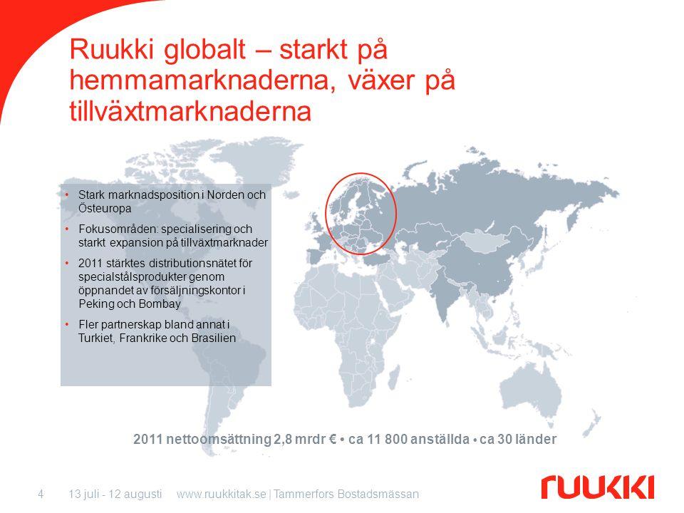 13 juli - 12 augustiwww.ruukkitak.se | Tammerfors Bostadsmässan4 Ruukki globalt – starkt på hemmamarknaderna, växer på tillväxtmarknaderna 2011 nettoo