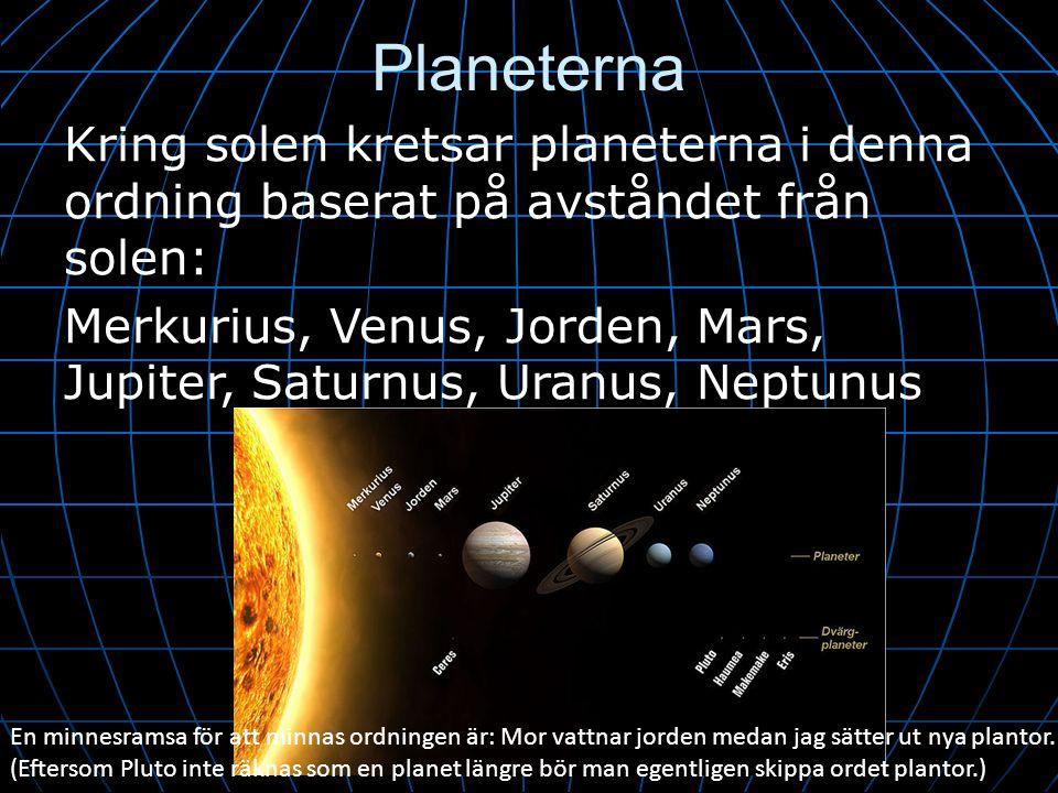 Planeterna Kring solen kretsar planeterna i denna ordning baserat på avståndet från solen: Merkurius, Venus, Jorden, Mars, Jupiter, Saturnus, Uranus,