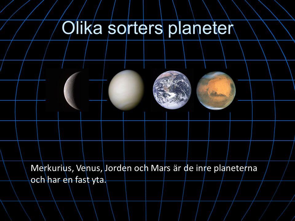Olika sorters planeter Merkurius, Venus, Jorden och Mars är de inre planeterna och har en fast yta.