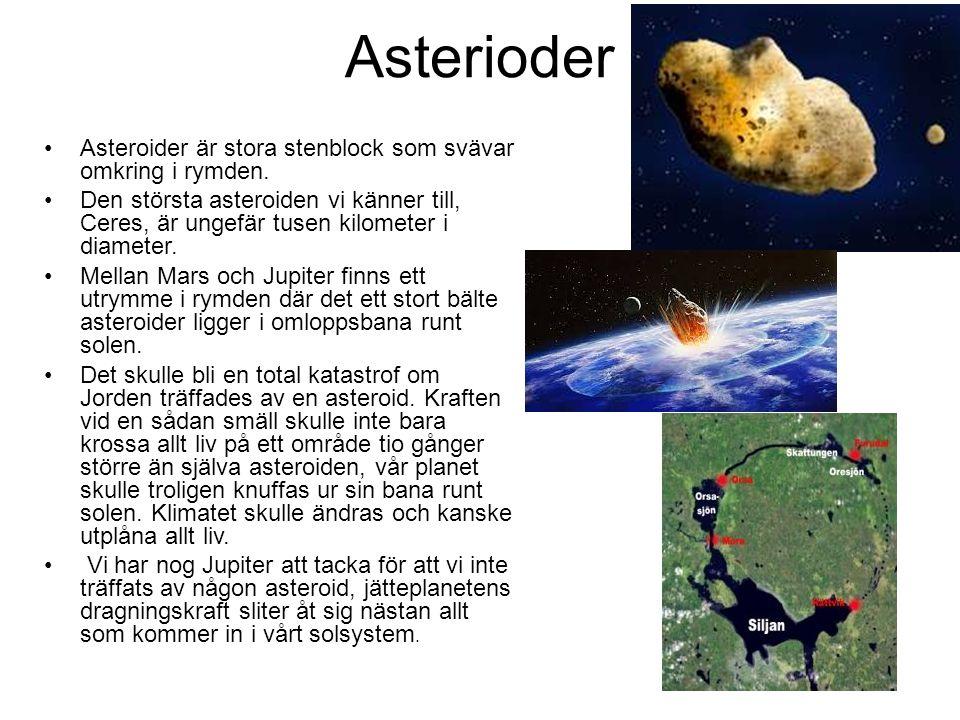 Asterioder Asteroider är stora stenblock som svävar omkring i rymden. Den största asteroiden vi känner till, Ceres, är ungefär tusen kilometer i diame