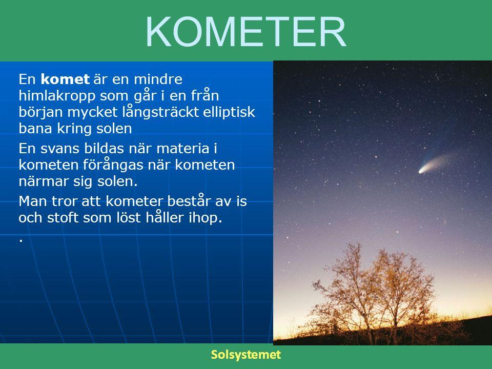 KOMETER En komet är en mindre himlakropp som går i en från början mycket långsträckt elliptisk bana kring solen En svans bildas när materia i kometen