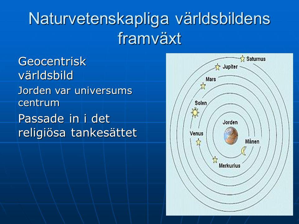 Naturvetenskapliga världsbildens framväxt Geocentrisk världsbild Jorden var universums centrum Passade in i det religiösa tankesättet