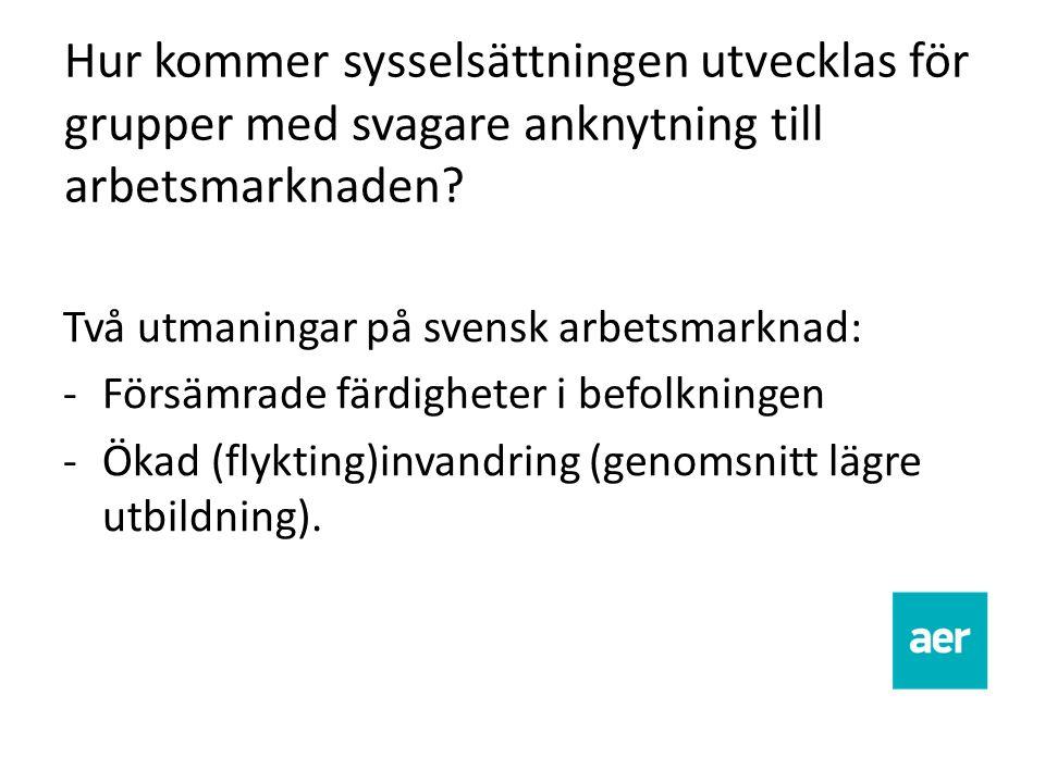Hur kommer sysselsättningen utvecklas för grupper med svagare anknytning till arbetsmarknaden? Två utmaningar på svensk arbetsmarknad: -Försämrade fär