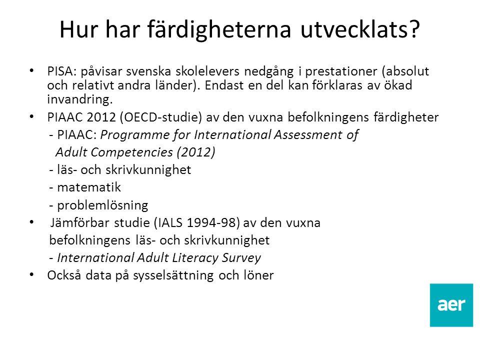 Hur har färdigheterna utvecklats? PISA: påvisar svenska skolelevers nedgång i prestationer (absolut och relativt andra länder). Endast en del kan förk