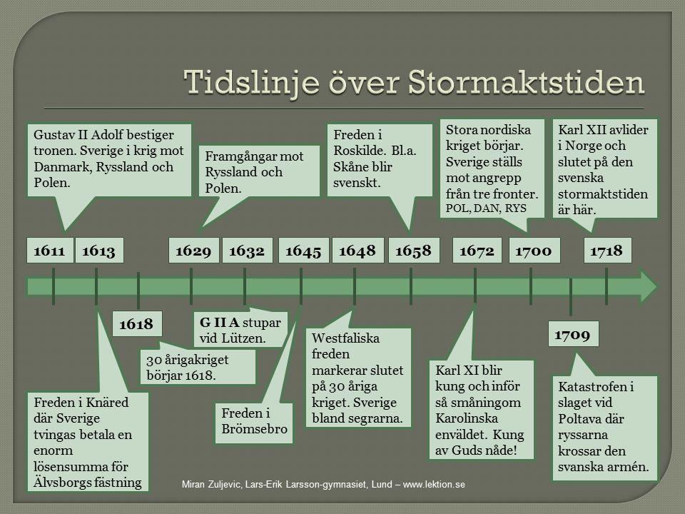 Gustav II Adolf bestiger tronen. Sverige i krig mot Danmark, Ryssland och Polen. 1611 Freden i Knäred där Sverige tvingas betala en enorm lösensumma f