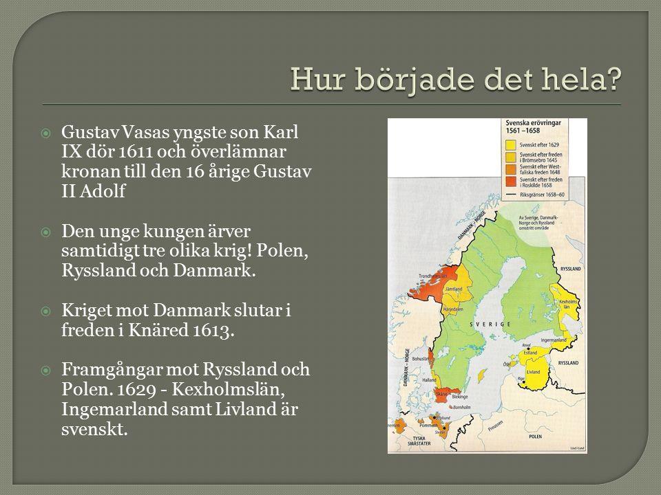  Gustav Vasas yngste son Karl IX dör 1611 och överlämnar kronan till den 16 årige Gustav II Adolf  Den unge kungen ärver samtidigt tre olika krig.