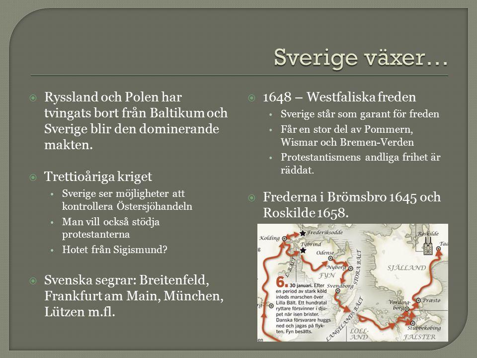  Ryssland och Polen har tvingats bort från Baltikum och Sverige blir den dominerande makten.  Trettioåriga kriget Sverige ser möjligheter att kontro