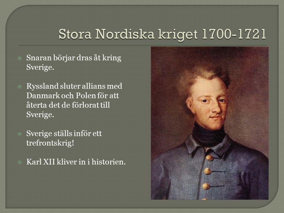  Snaran börjar dras åt kring Sverige.  Ryssland sluter allians med Danmark och Polen för att återta det de förlorat till Sverige.  Sverige ställs i