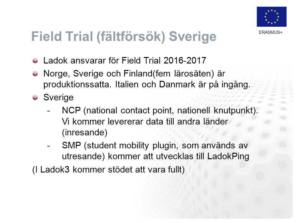 Field Trial (fältförsök) Sverige Ladok ansvarar för Field Trial 2016-2017 Norge, Sverige och Finland(fem lärosäten) är produktionssatta.