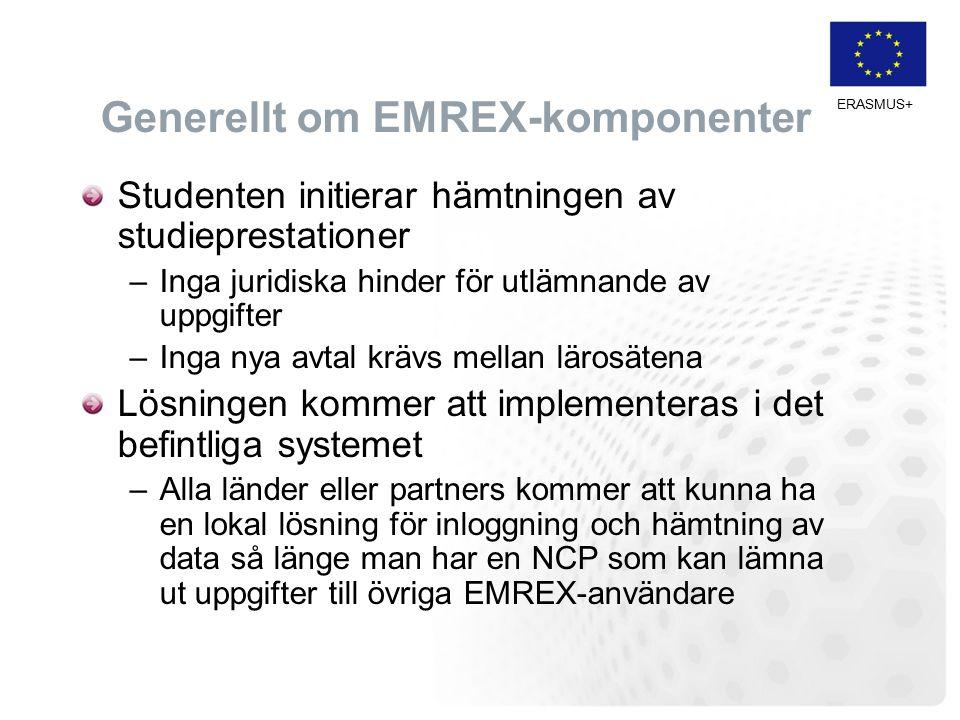 Generellt om EMREX-komponenter Studenten initierar hämtningen av studieprestationer –Inga juridiska hinder för utlämnande av uppgifter –Inga nya avtal krävs mellan lärosätena Lösningen kommer att implementeras i det befintliga systemet –Alla länder eller partners kommer att kunna ha en lokal lösning för inloggning och hämtning av data så länge man har en NCP som kan lämna ut uppgifter till övriga EMREX-användare