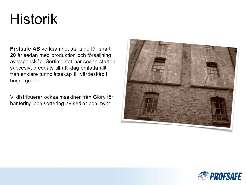 Historik Profsafe AB verksamhet startade för snart 20 år sedan med produktion och försäljning av vapenskåp.
