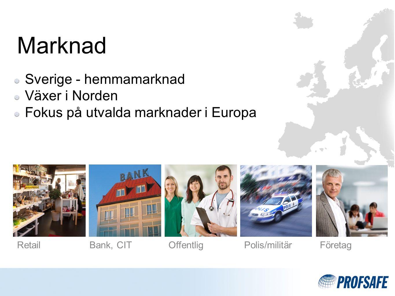 RetailBank, CITOffentligPolis/militärFöretag Marknad Sverige - hemmamarknad Växer i Norden Fokus på utvalda marknader i Europa