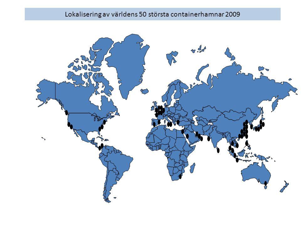 Lokalisering av världens 50 största containerhamnar 2009