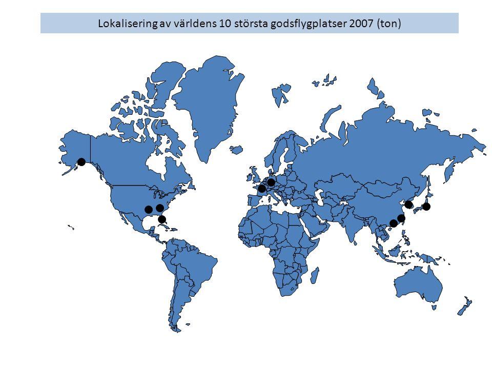 Lokalisering av världens 10 största godsflygplatser 2007 (ton)