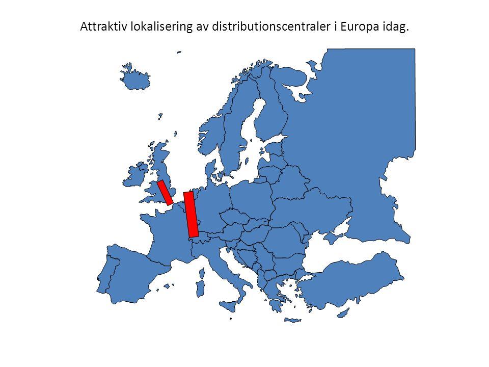 Attraktiv lokalisering av distributionscentraler i Europa idag.