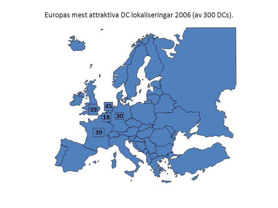 Europas mest attraktiva DC lokaliseringar 2006 (av 300 DCs). 30 39 45 39 18