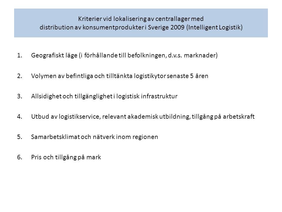 Kriterier vid lokalisering av centrallager med distribution av konsumentprodukter i Sverige 2009 (Intelligent Logistik) 1.Geografiskt läge (i förhålla
