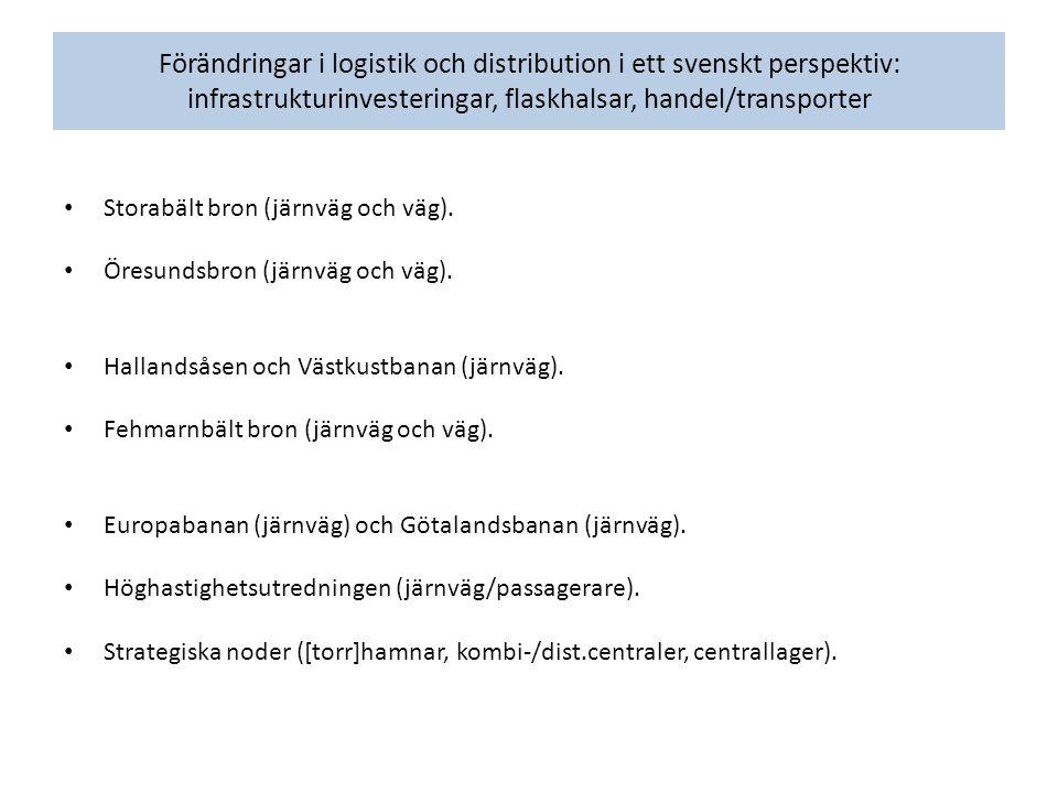 Förändringar i logistik och distribution i ett svenskt perspektiv: infrastrukturinvesteringar, flaskhalsar, handel/transporter Storabält bron (järnväg