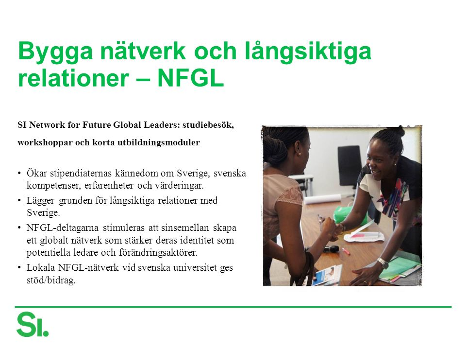 Bygga nätverk och långsiktiga relationer – NFGL SI Network for Future Global Leaders: studiebesök, workshoppar och korta utbildningsmoduler Ökar stipendiaternas kännedom om Sverige, svenska kompetenser, erfarenheter och värderingar.