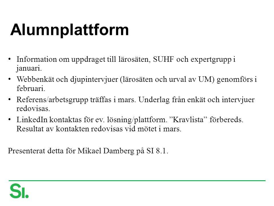Alumnplattform Information om uppdraget till lärosäten, SUHF och expertgrupp i januari.