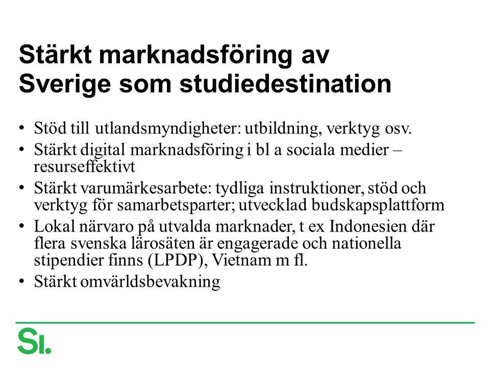 Stärkt marknadsföring av Sverige som studiedestination Stöd till utlandsmyndigheter: utbildning, verktyg osv. Stärkt digital marknadsföring i bl a soc